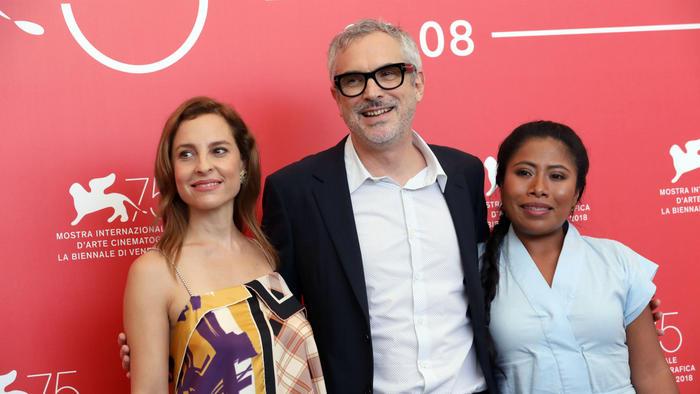 """Marina de Tavira, Alfonso Cuarón y Yalitza Aparicio, de """"Roma"""""""