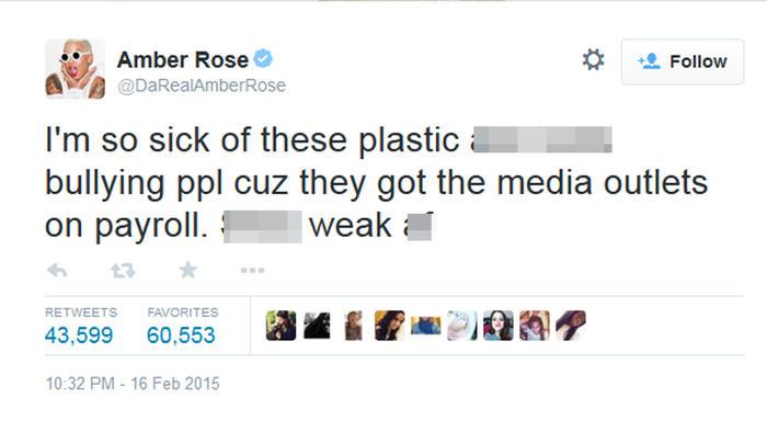 Amber Rose tuiteó en contra de las Kardashian