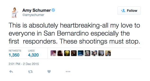 Amy Schumer reacciona al tiroteo en San Bernardino