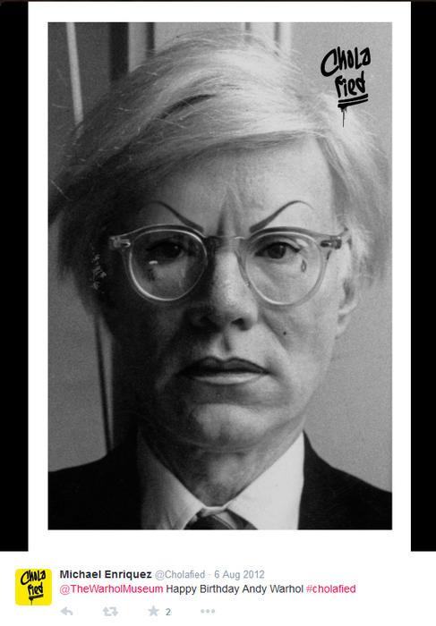 Andy Warhol maquillado como chola