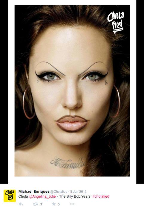 Angelina Jolie maquillada como chola