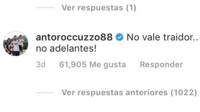 Comentario de Antonella Roccuzzo a Leo Messi