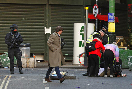 La escena en el London Bridge tras el ataque con cuchillo.