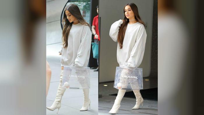 "Ariana Grande con bolsa que dice ""Sweetener"""
