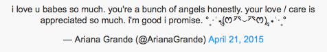 Ariana Grande y su tweet tras su ruptura con Big Sean