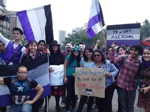Marcha de la comunidad asexual en México en junio.
