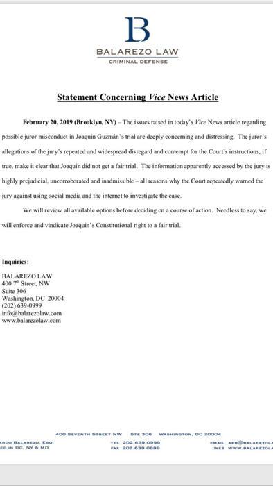 Comunicado de la firma legal de uno de los jueces de El Chapo, Eduardo Balarezo, sobre las declaraciones de un jurado al medio Vice News