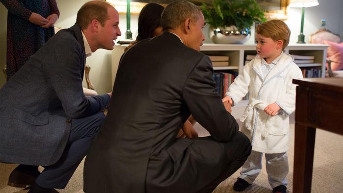 Barack Obama y príncipe George