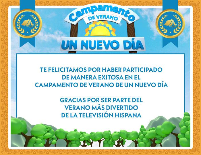 Certificado Campamento de Verano UND 2020