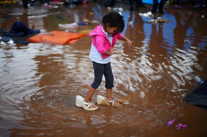 El primer refugio temporal en el compleo deportivo Benito Juárez después de una fuerte lluvia en Tijuana, México, el 29 de noviembre de 2018.