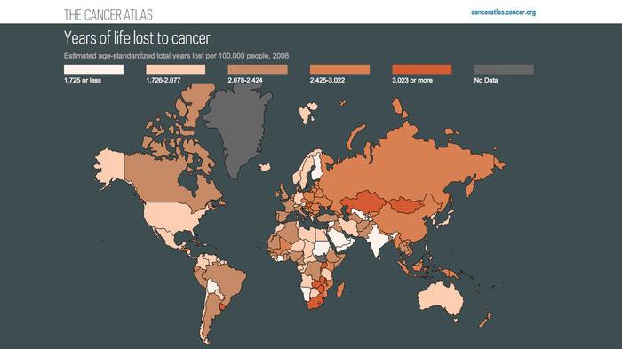 Mapa muestra incidencia de cáncer en el mundo