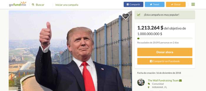 Captura de pantalla de la página de GoFundMe que busca reunir fondos para construir el muro fronterizo entre México y Estados Unidos.