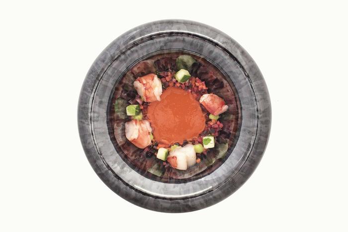 El plato favorito de Ruiz: Carabinero, guajillo, citrico.