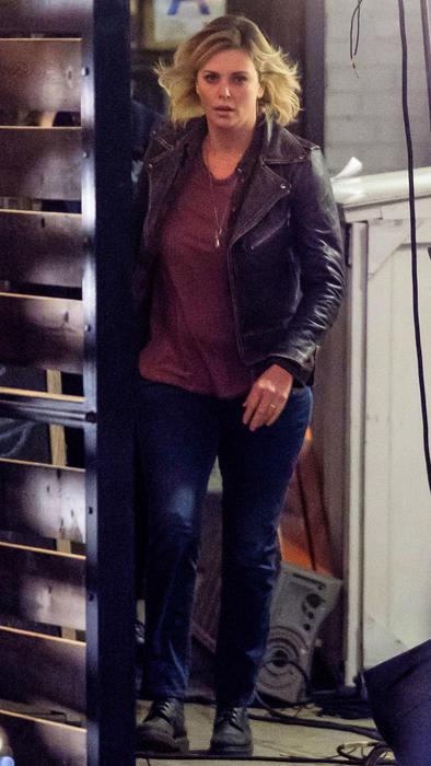 Charlize Theron en el set de Tully