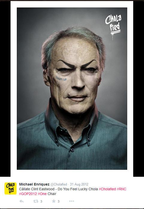 Clint Eastwood maquillado como chola
