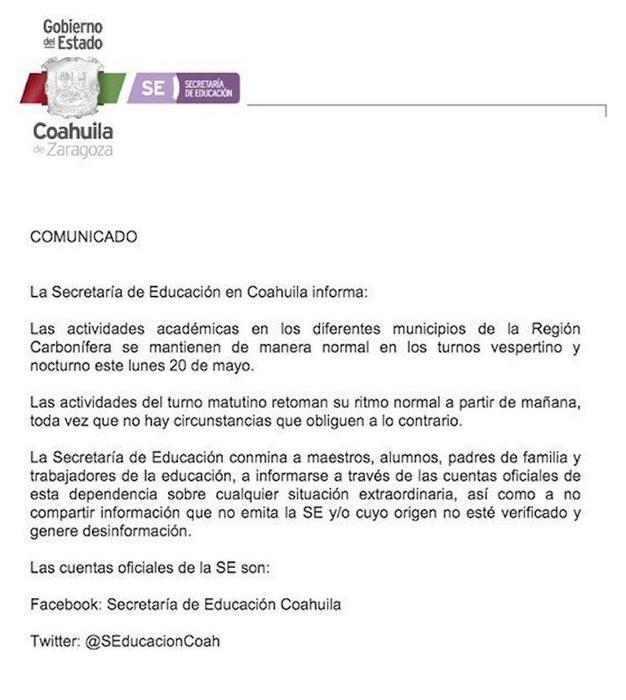 La Secretaría de Educación del estado negó que las clases se suspendieran en la región carbonífera