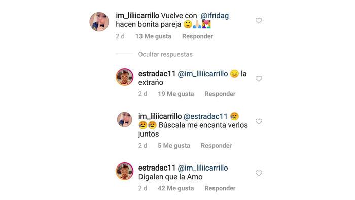 Christian Estrada comentario en Instagram