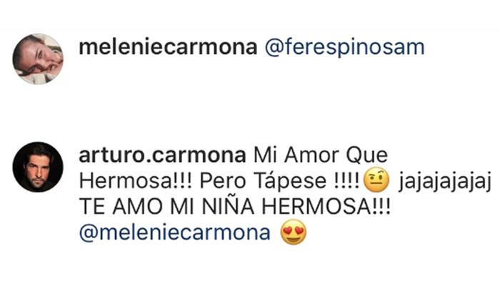 Comentario de Arturo Carmona a su hija Melenie en Instagram durante mayo de 2019