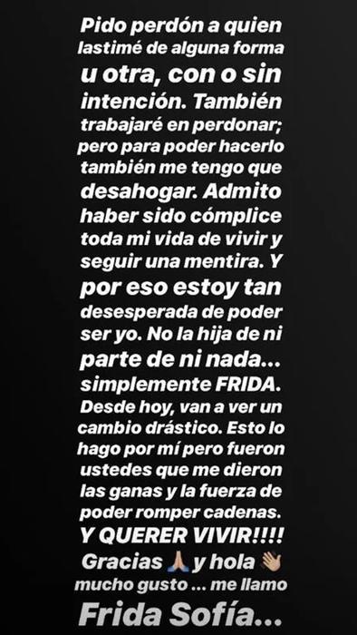 Frida Sofía pide perdón en Instagram por sus ataques