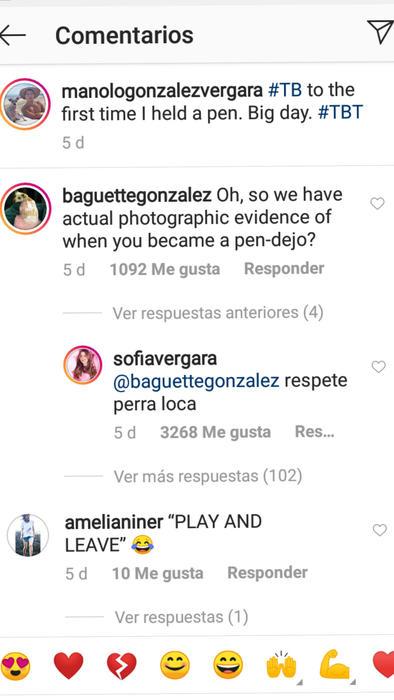 Comentario de Sofía Vergara en la cuenta de su hijo