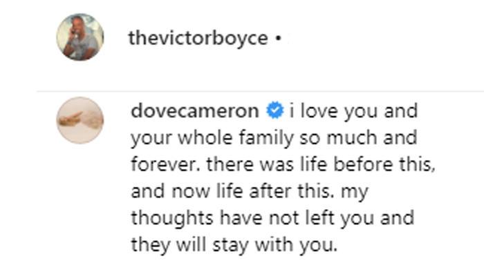 Comentario de Dove Cameron a Victor Boyce hecho en julio de 2019 en Instagram