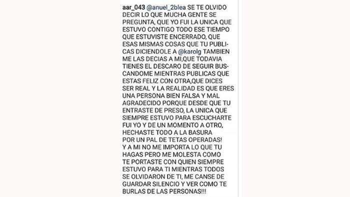 La Ex De Anuel Aa Critica La Relación Del Cantante Con Karol G