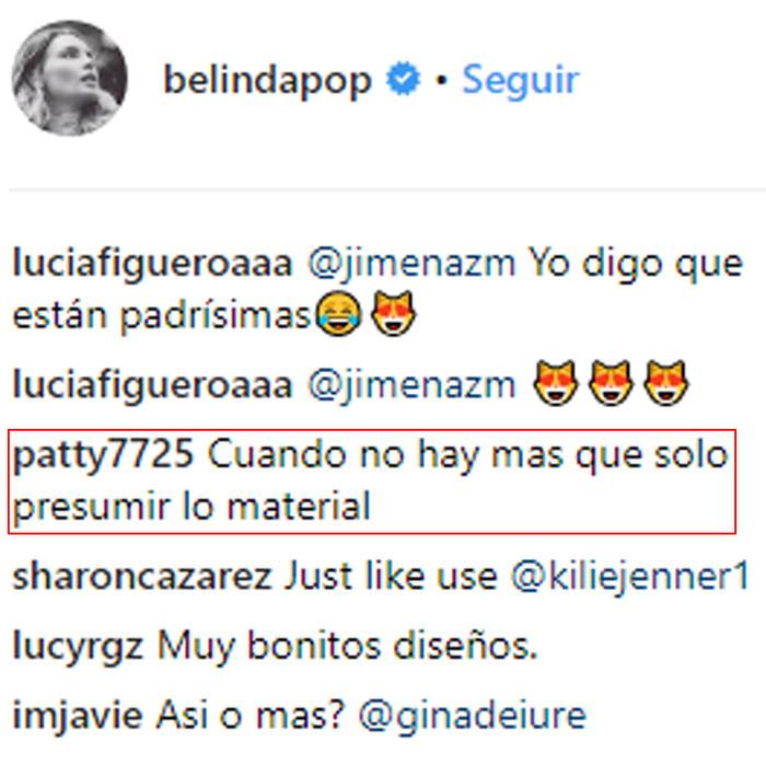 Comentario sobre la pulsera de Belinda