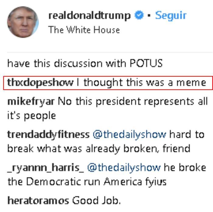 Comentario en Instagram sobre reunión de Kim Kardashian con Donald Trump