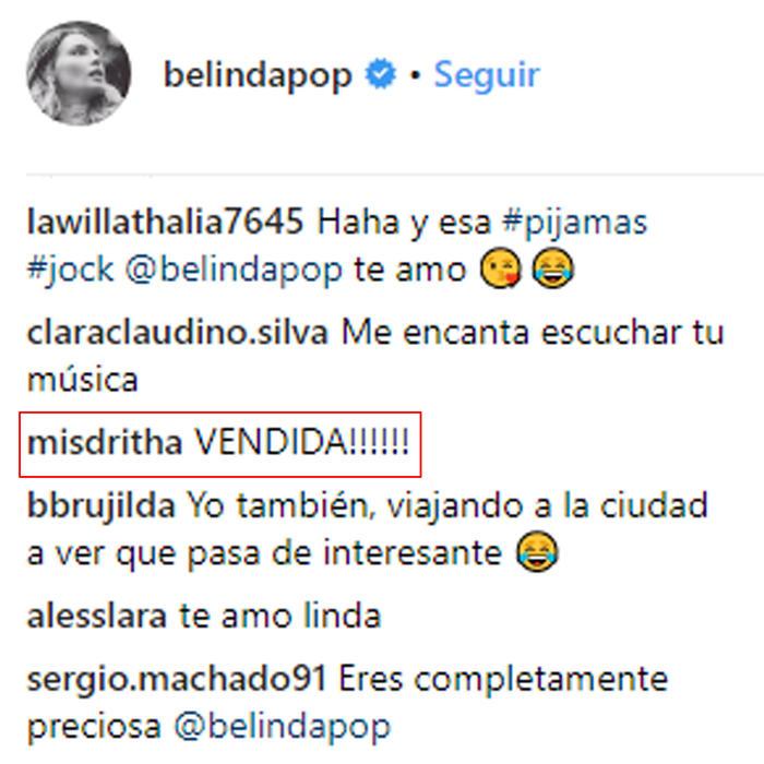 """Le dicen """"vendida"""" a Belinda en su Instagram"""