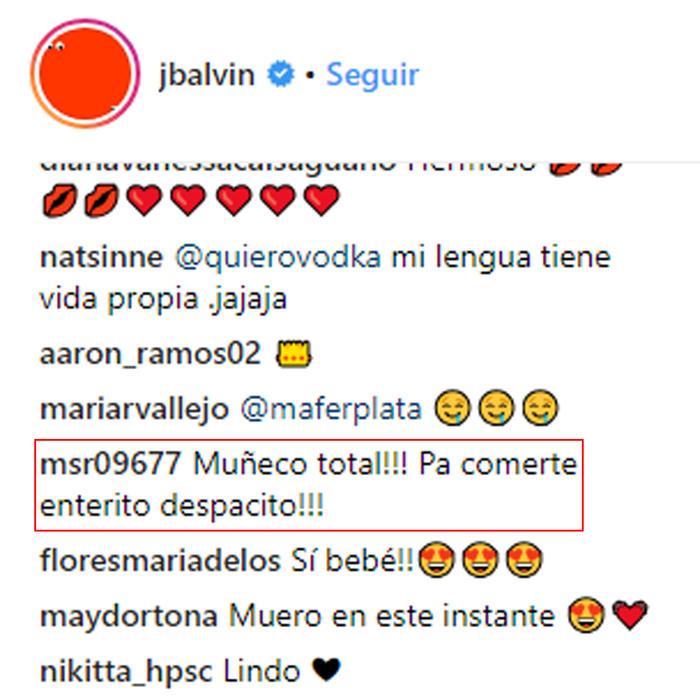 Comentarios a J Balvin por sexy selfie
