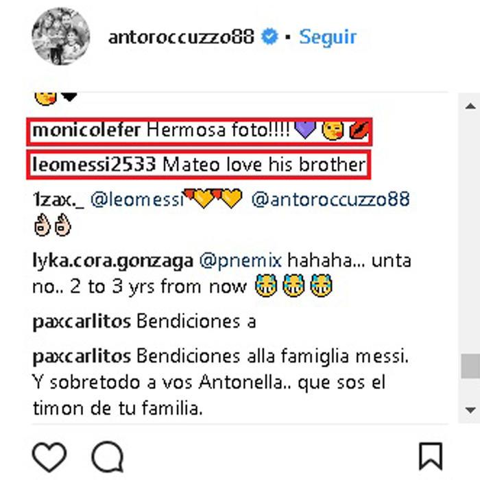 Comentarios Antonella Roccuzzo