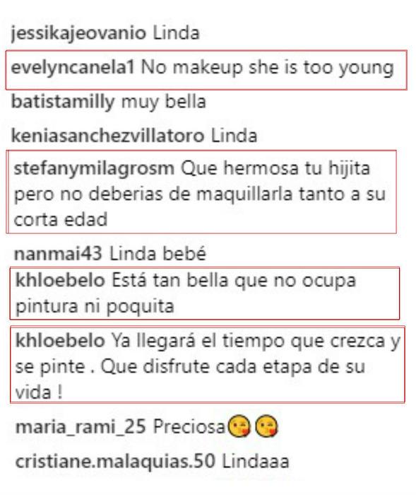 Comentarios sobre la hija de Elizabeth Gutiérrez
