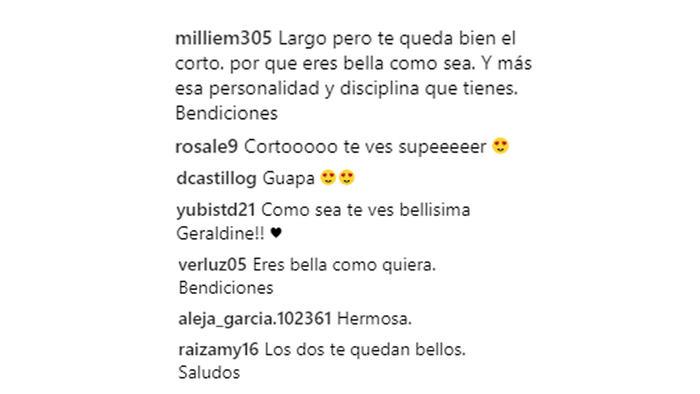 Comentarios Instagram de Geraldine Bazán