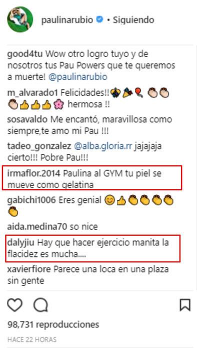 Comentarios sobre las piernas de Paulina Rubio
