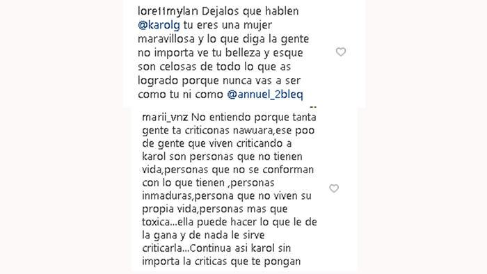 Comentarios Instagram de Karol G