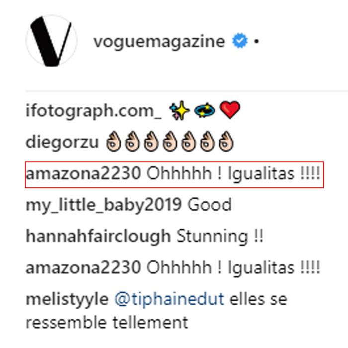 Comentarios en la cuenta de Vogue Magazine