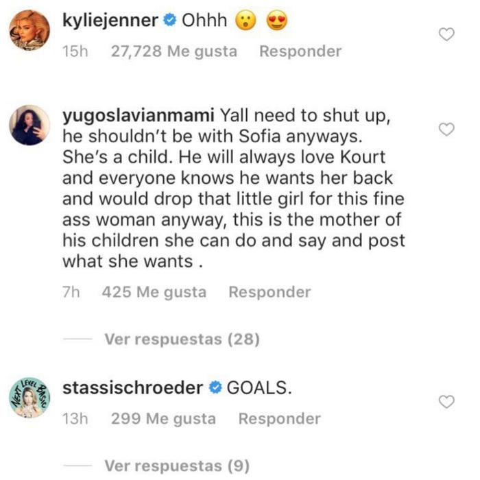 Comentarios positivos a Kourtney Kardashian