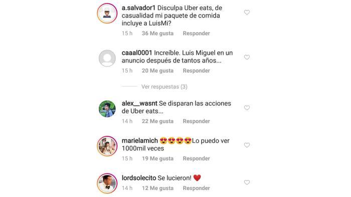 comentarios comercial de Uber Eats Luis Miguel