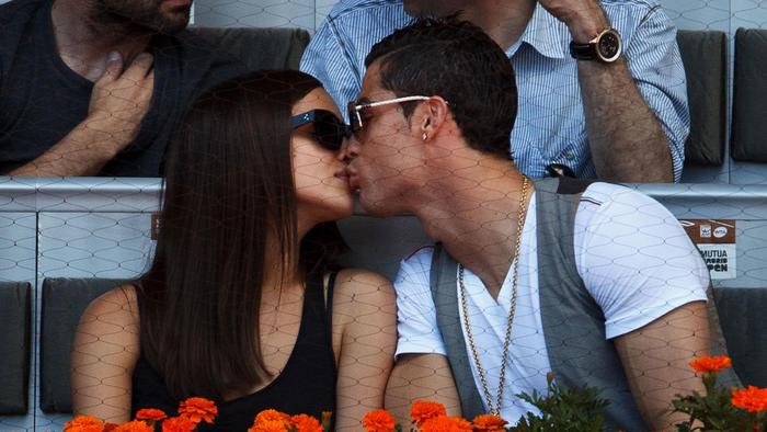 Cristiano Ronaldo e Irina Shayk en el partido de Rafael Nadal y David Ferrer en España 2013