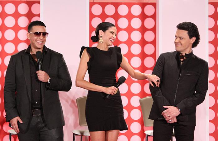 Daddy Yankee Natalia Jiménez y Pedro Fernández La Voz Kids Press Conference 2015