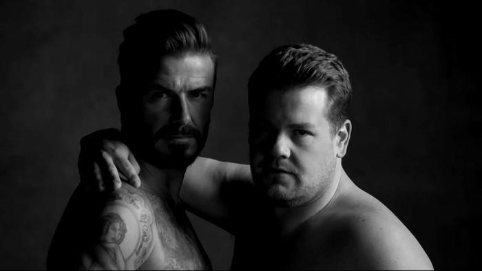 David Beckham y James Corden en el comercial de D&J Briefs