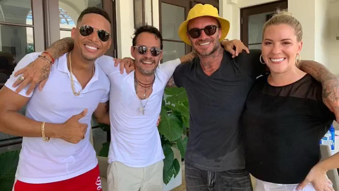 David Beckham y Marc Anthony posando en Instagram en julio de 2019
