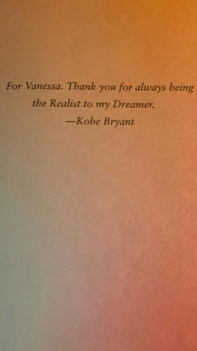 Dedicatoria de Kobe Bryant a Vanessa Bryant