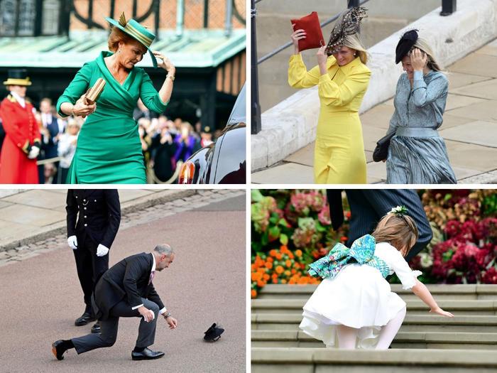 Los invitados a la boda sufrieron las inclemencias del clima y el viento voló sus vestidos y sombreros cuando arrivaron a la capilla.