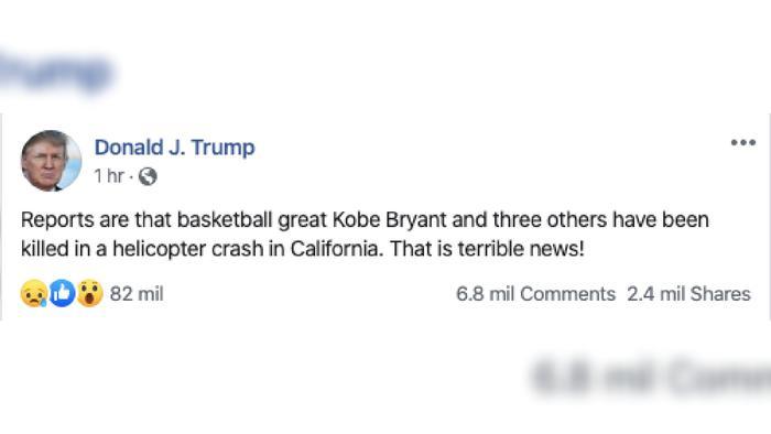 Donald Trump reacción por muerte de Kobe Bryant