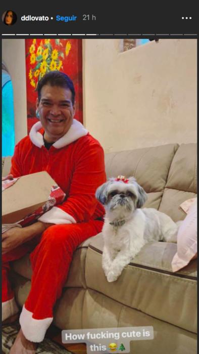 Eddie De La Garza y perro de Demi Lovato