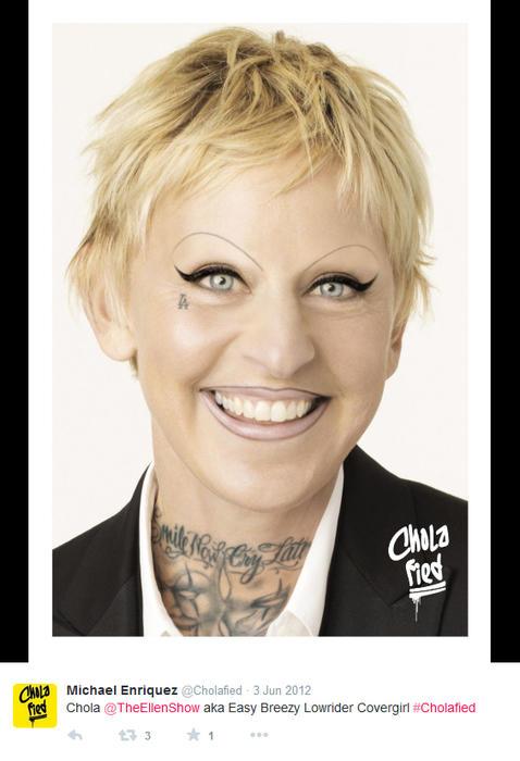 Ellen DeGeneres maquillada como chola