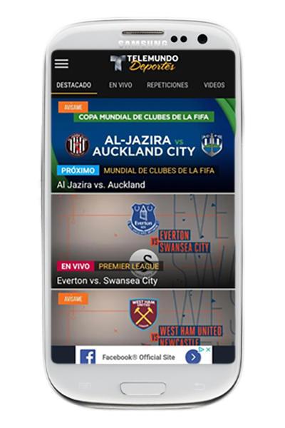 Samsung Mockup Telemundo deportes en VIVO app