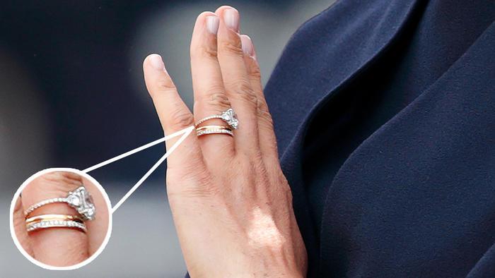 El anillo de compromiso de Meghan Markle en el desfile Trooping the Colour en junio de 2019