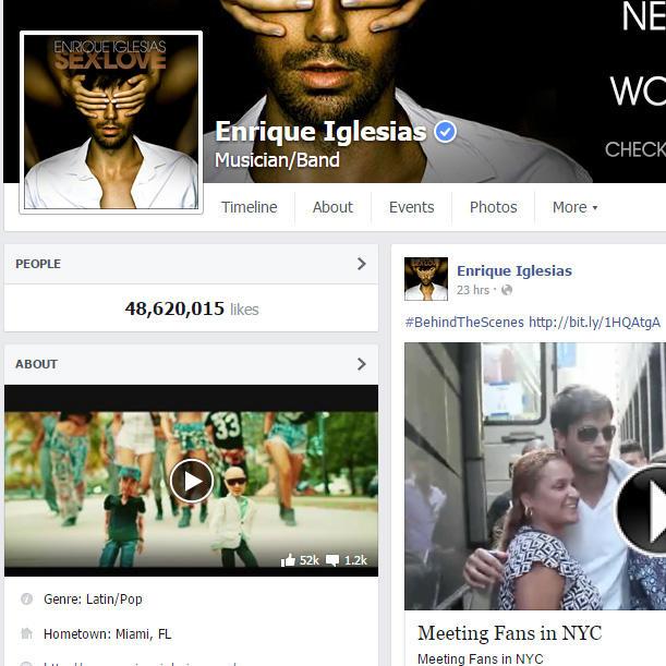 enrique iglesias cuenta oficial de facebook